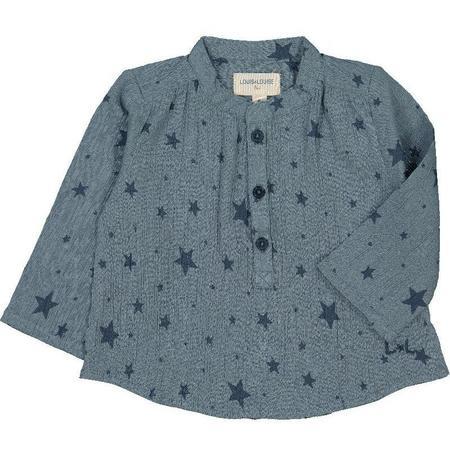 louis louise cotton crepe baby shirt - blue stars