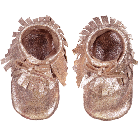 kids louis louise leather baby moccasins shoes - rose gold