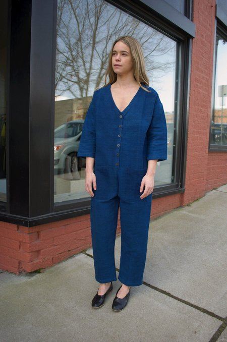 Happy French Gang Jumpsuit - Indigo Textured