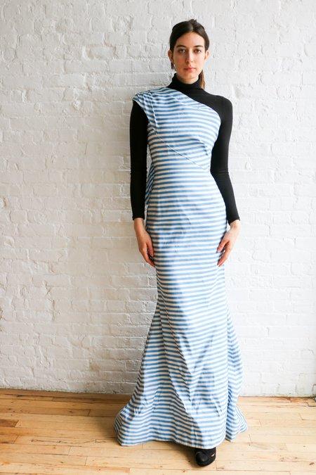 [pre-loved] Oscar de la Renta Striped Bow Gown - Blue/White