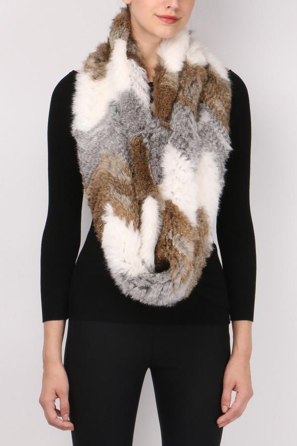 Jocelyn Fur Chevron Long Hair Rabbit Scarf