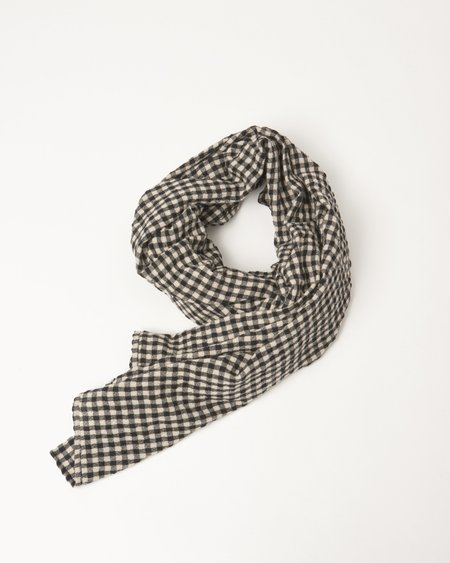 Royal Blue Cotton Wool Gingham Stole - Natural/Black