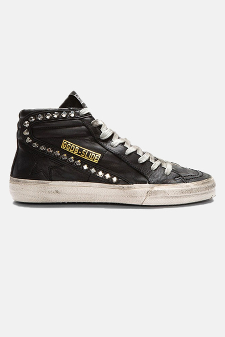 Golden Goose Slide Sneaker Shoes - Black Leather Studs