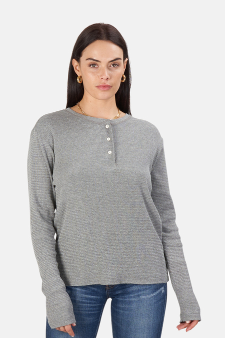 Re/Done Henley Thermal Top - heather grey