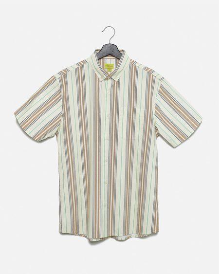 Poplin & Co. Blanket Weave Button Down Short Sleeve Shirt - beige