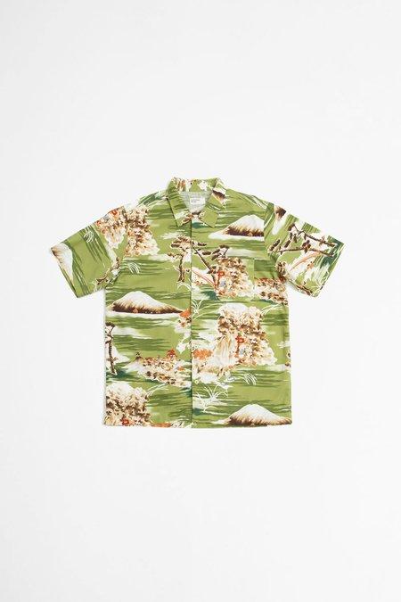 Universal Works Road fuji summer print shirt - green