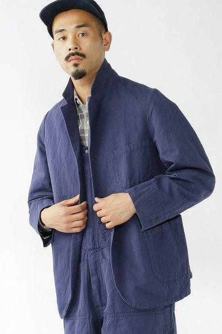 Beams Plus Cotton/linen Herringbone Jacket - Navy