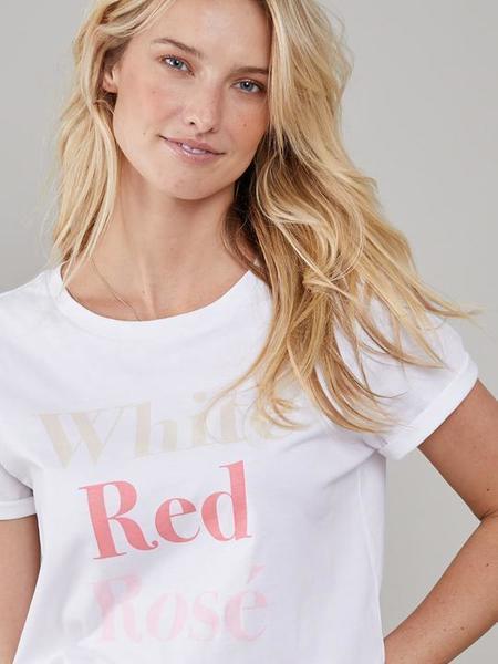 South Parade  White Red Rose Lola Loose Tee