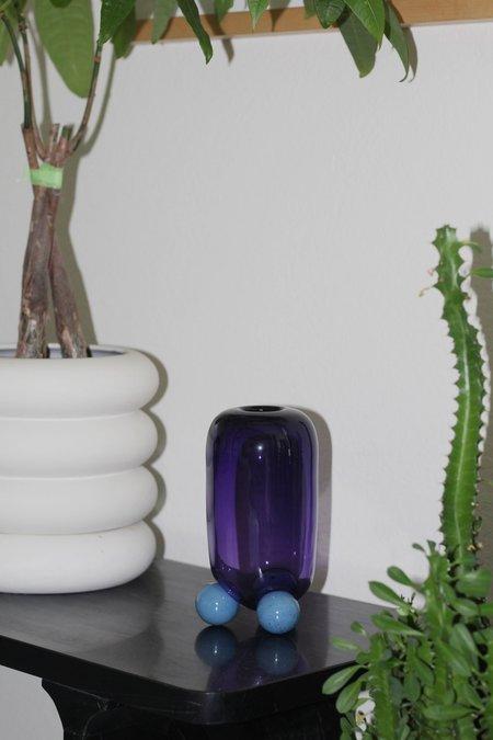 Little Tomato Glass Glass Cylinder Tripod Vase - Purple/Turq