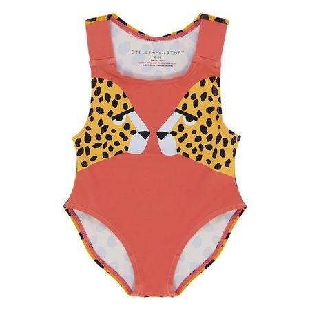 KIDS Stella McCartney Baby Cheetah Face Print Swimsuit - Red