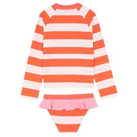 Kids Stella McCartney Swim Set With Stripes And Flamingo Print - Red