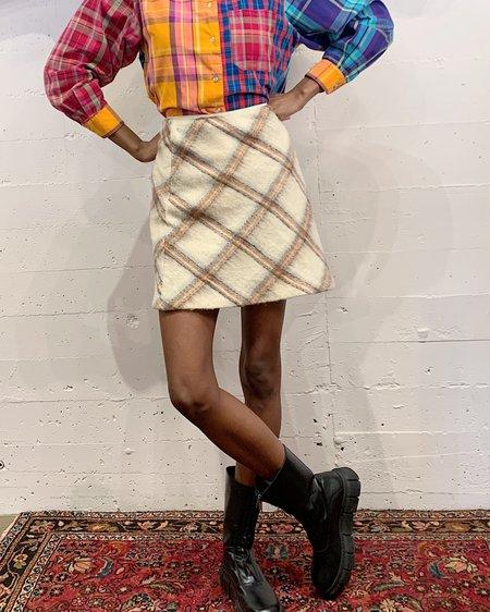 Vintage Wool Plaid Mini Skirt