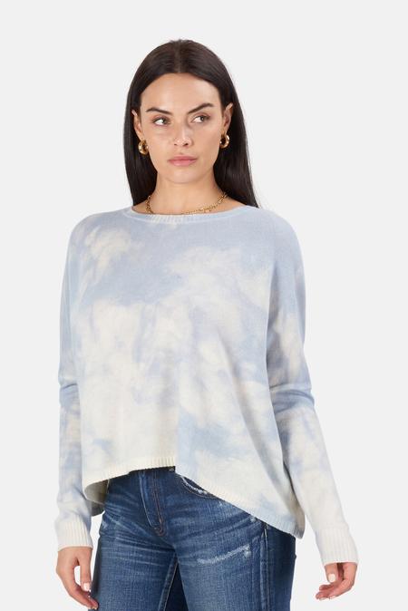 Minnie Rose Bleach Print Boyfriend Crop Sweater - Baby Blue