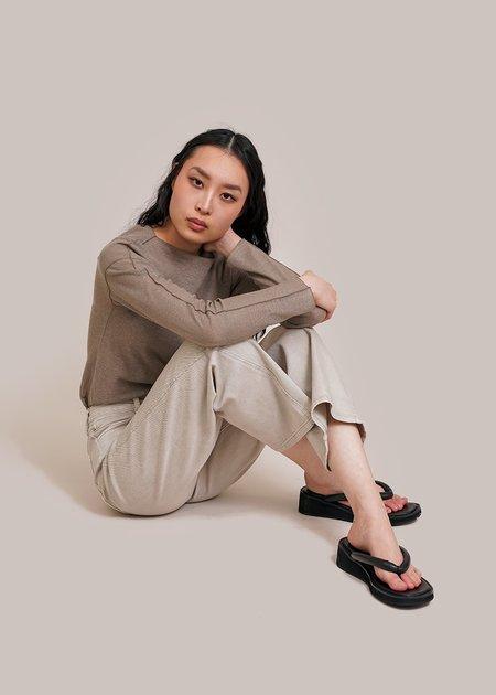 AMOMENTO Semi Wide Boot Cut Jeans - sage green