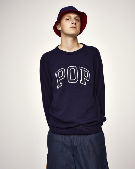 Pop Trading Company Arch Knitted Crewneck sweater - Navy