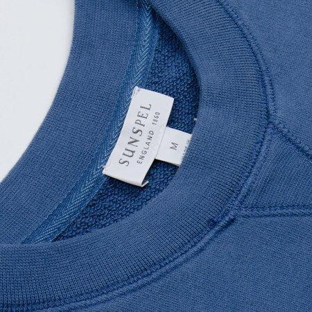 Sunspel Loopback Sweatshirt - Smoke Blue