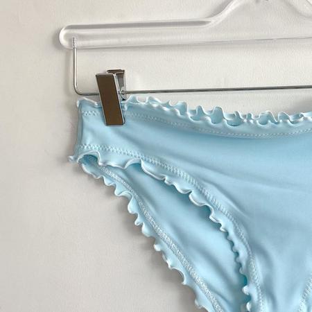 Sherris Ruffle Mid-Rise Bikini Bottom - Baby Blue Multi