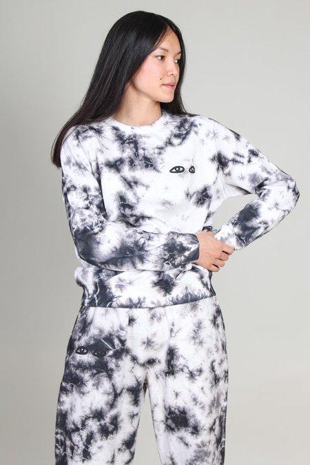 Clare V. Tie-Dye with Black Eyes Sweatshirt - Black/White Cloud