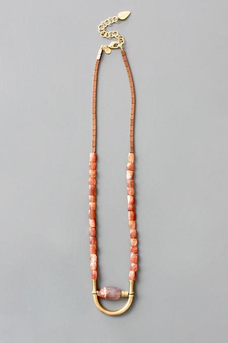 David Aubrey Inc Sunstone Beaded Necklace with Moonstone Pendant - Pink