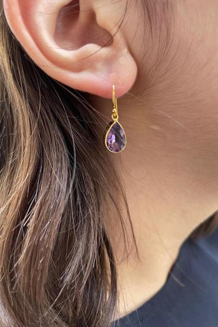 Percent Jewelry Faceted Amethyst Pear Earring - Gold