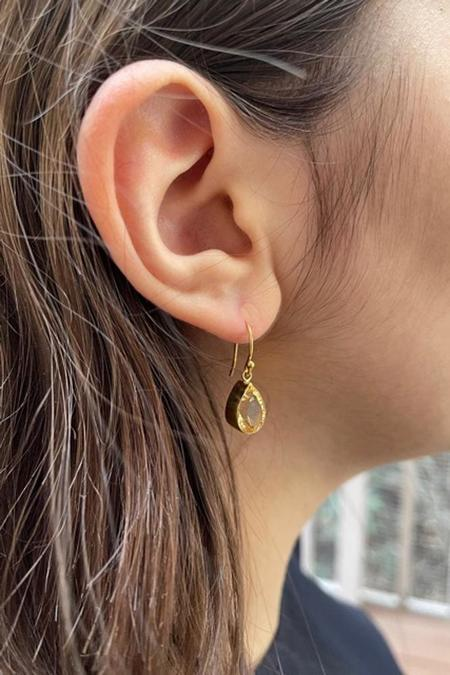 Percent Jewelry Faceted Citrine Pear Earring - Gold