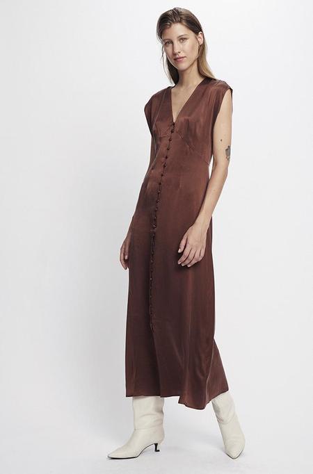 Silk Laundry V NECK DRESS - CHOCOLATE