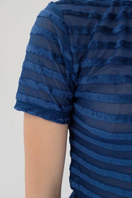 Baserange Omo Burnout Velour Tee - Darya Blue Stripe