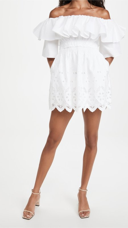 Off Shoulder Broderie Tunic - White