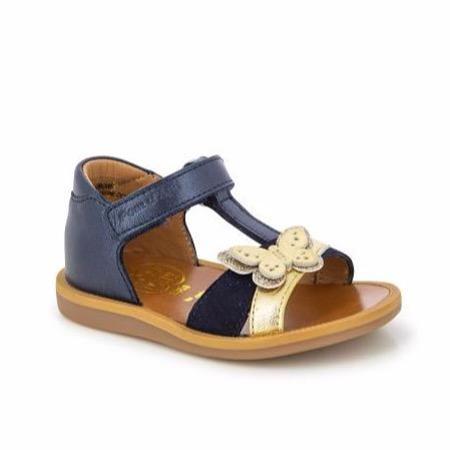 kids pom d'api poppy cross shoes - navy