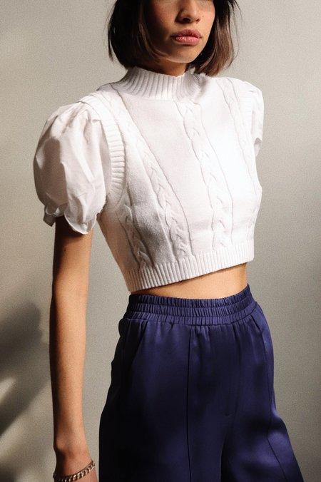 Glamorous Knit Puff Sleeve Sweater - Off White