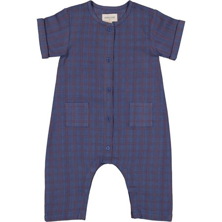 kids louis louise baby check overall  - Blue/Red