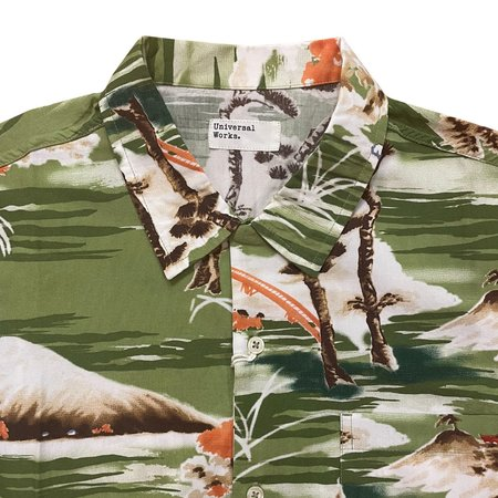 Universal Works Road Shirt - Green Fuji Summer Print