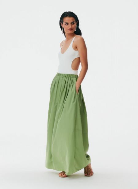 Tibi Taffeta Cocoon Skirt - Matcha Green