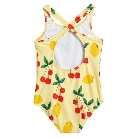 kids Mini Rodini Baby And Child All Over Cherry Lemonade Print Swimsuit - Yellow