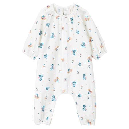 KIDS Petit Bateau Baby Laetitia Floral Print Jumpsuit - Cream