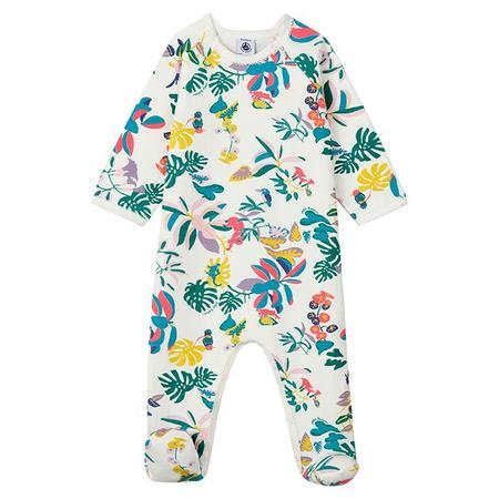 KIDS Petit Bateau Baby Lanoline Jungle Print Pyjamas - White