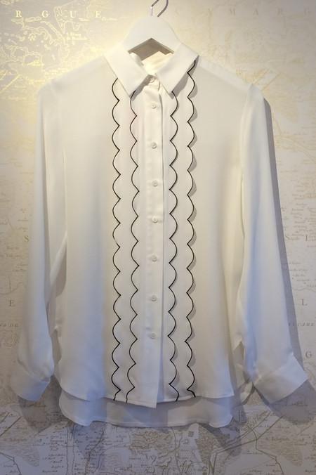 Jenni Kayne Scallop Silk Boyfriend Shirt