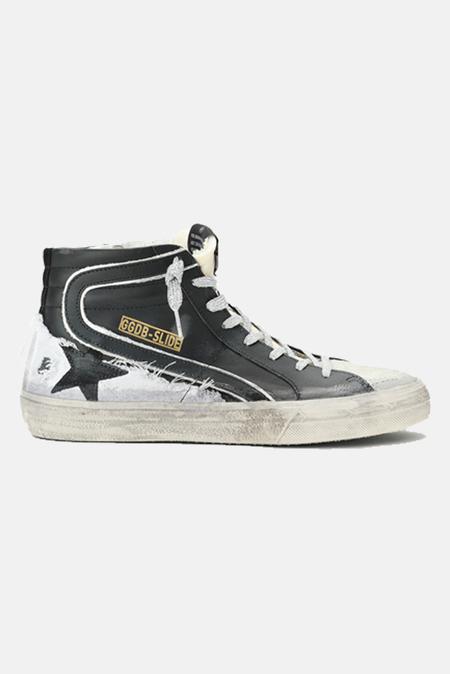 Golden Goose Slide Shoes - Black Leather/Ice Suede/Black Star