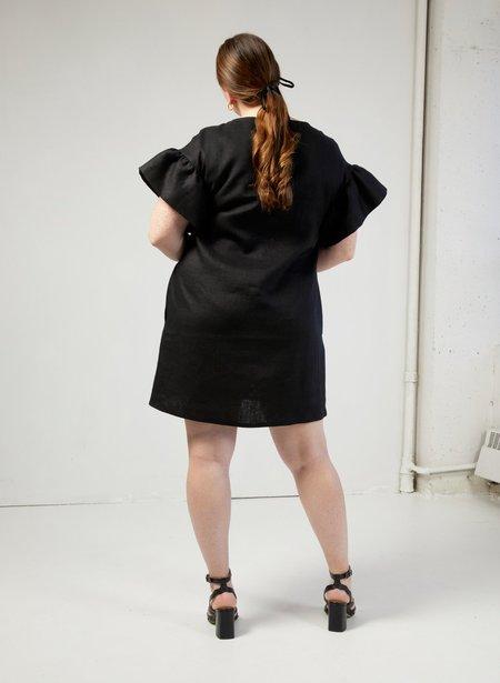 Eliza Faulkner Linen Raffi Dress - Black