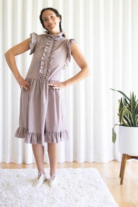 Batsheva Claude Dress - Beige Tartan