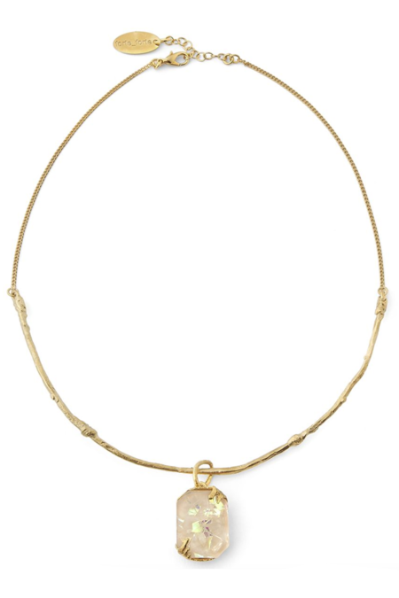 Forte Forte Iridescent Resin Collier Necklace - Ivory/brass