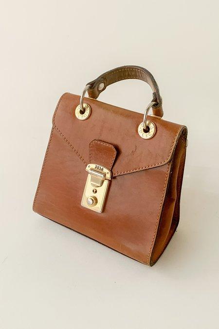 Vintage Leather Mini Box Purse bag - Oak