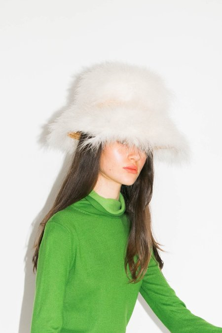 vintage Fluffy Feather Hat - white