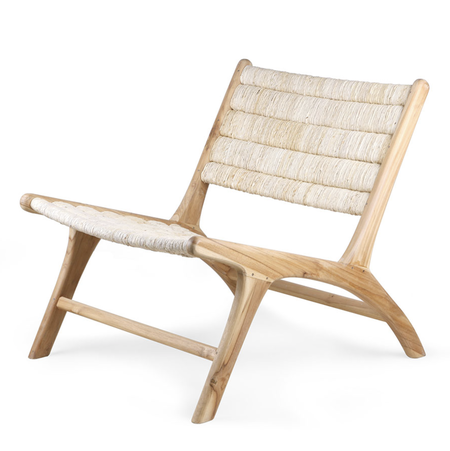 HKliving Abaca teak/woven lounge chair - natural