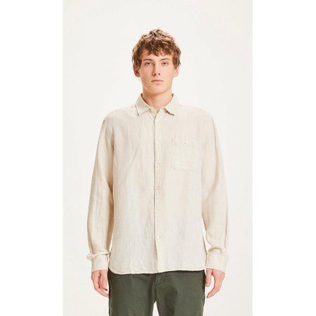 knowledge cotton apparel Larch LS structured linen shirt - light feather grey