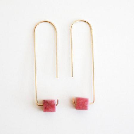 Mabel and Moss Pink Rhodonite Gemstone Earrings - 14k gold filled