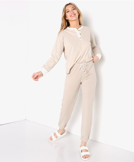 Donni Duo Henley top - stone-creme