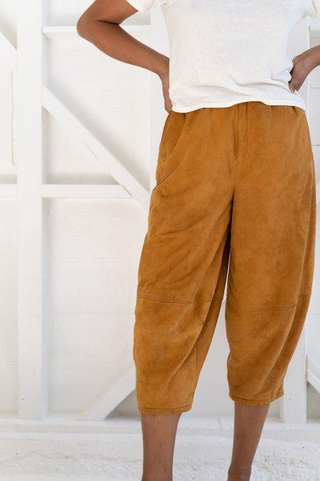 Vintage Suede Balloon Pants - Rusty Orange