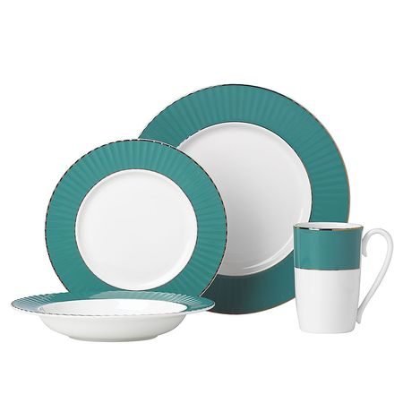 Lenox Pleated Colors 4-Piece Place Setting dinnerware - Teal