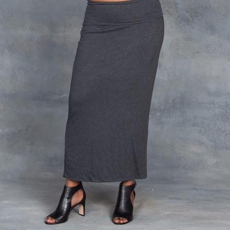 Raquel Allegra Heather Grey Double Layer Maxi Skirt